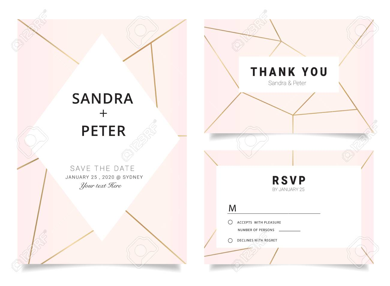 Wedding invitations set thank you card rsvp design with rose gold imagens wedding invitations set thank you card rsvp design with rose gold geometric shape pattern stopboris Images