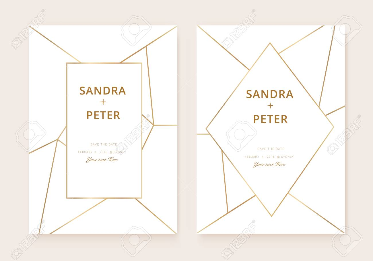 wedding invitations set thank you card rsvp design with gold