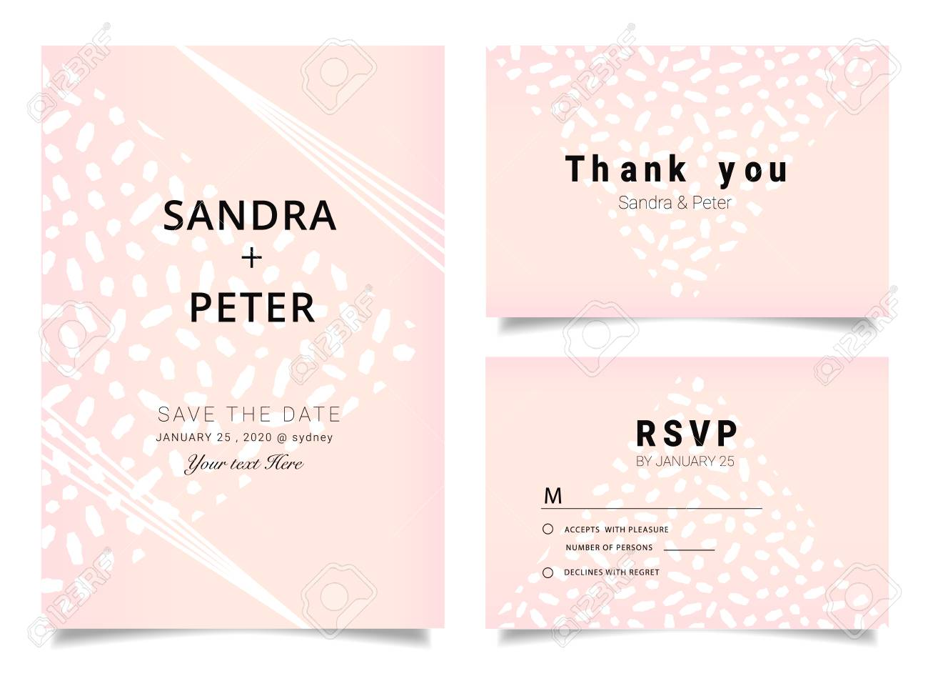 Wedding Invitations Set Thank You Card Rsvp Design With Rose Gold