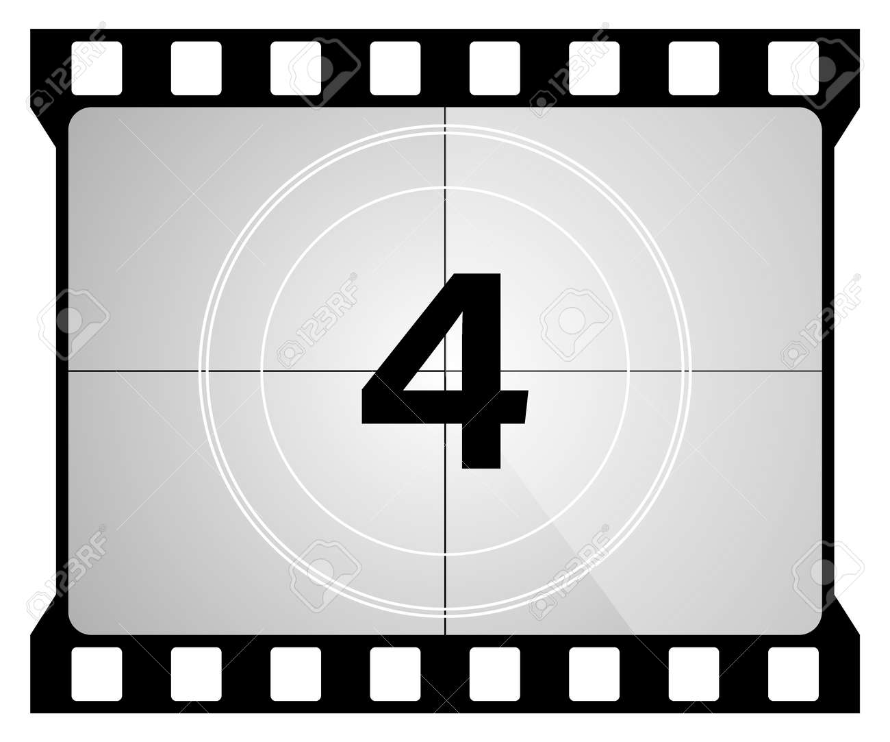 A classic movie countdown frame at the number Four. - 160600518