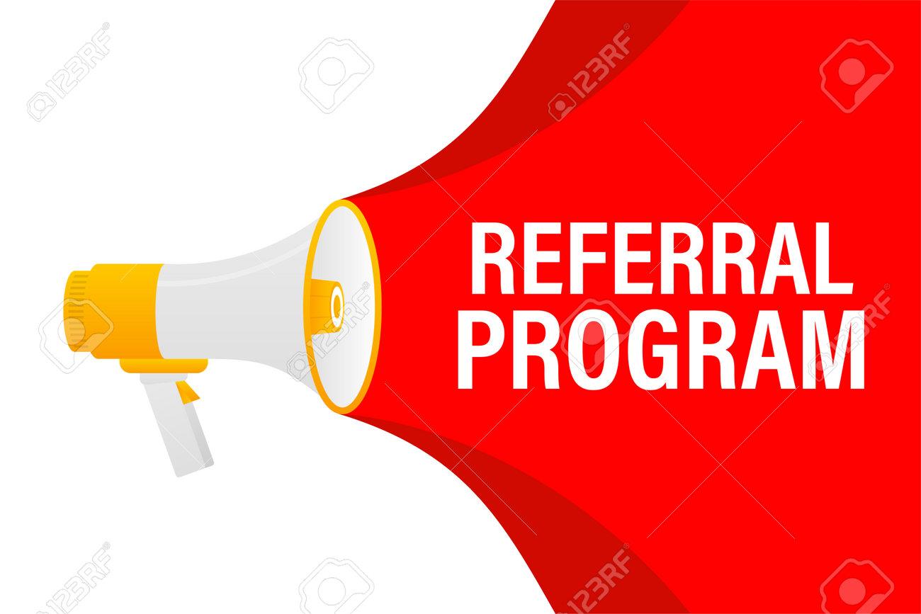 Referral program megaphone red banner in 3D style on white background. Vector illustration. - 160622385