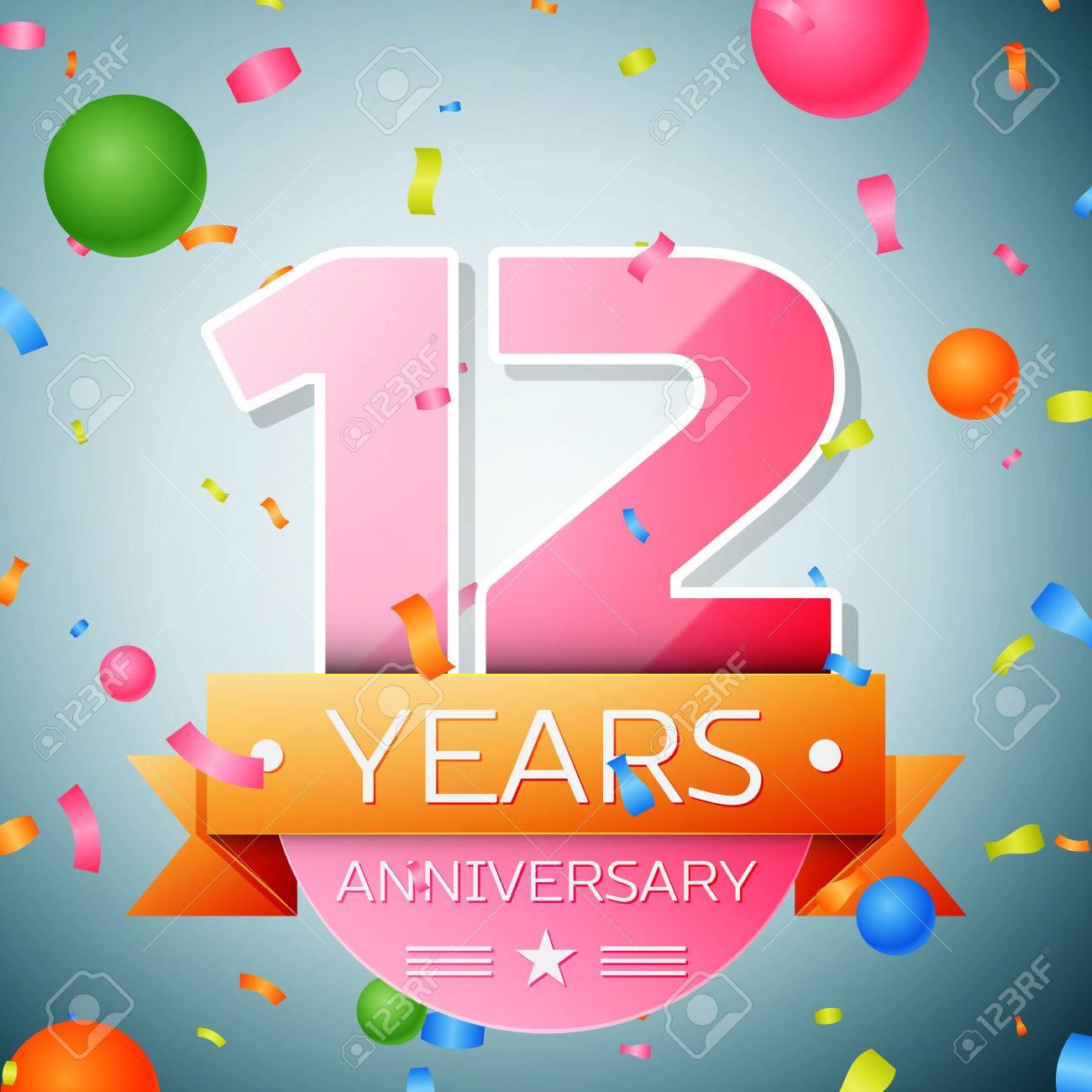 Twelve years anniversary celebration background. Anniversary ribbon - 67210346