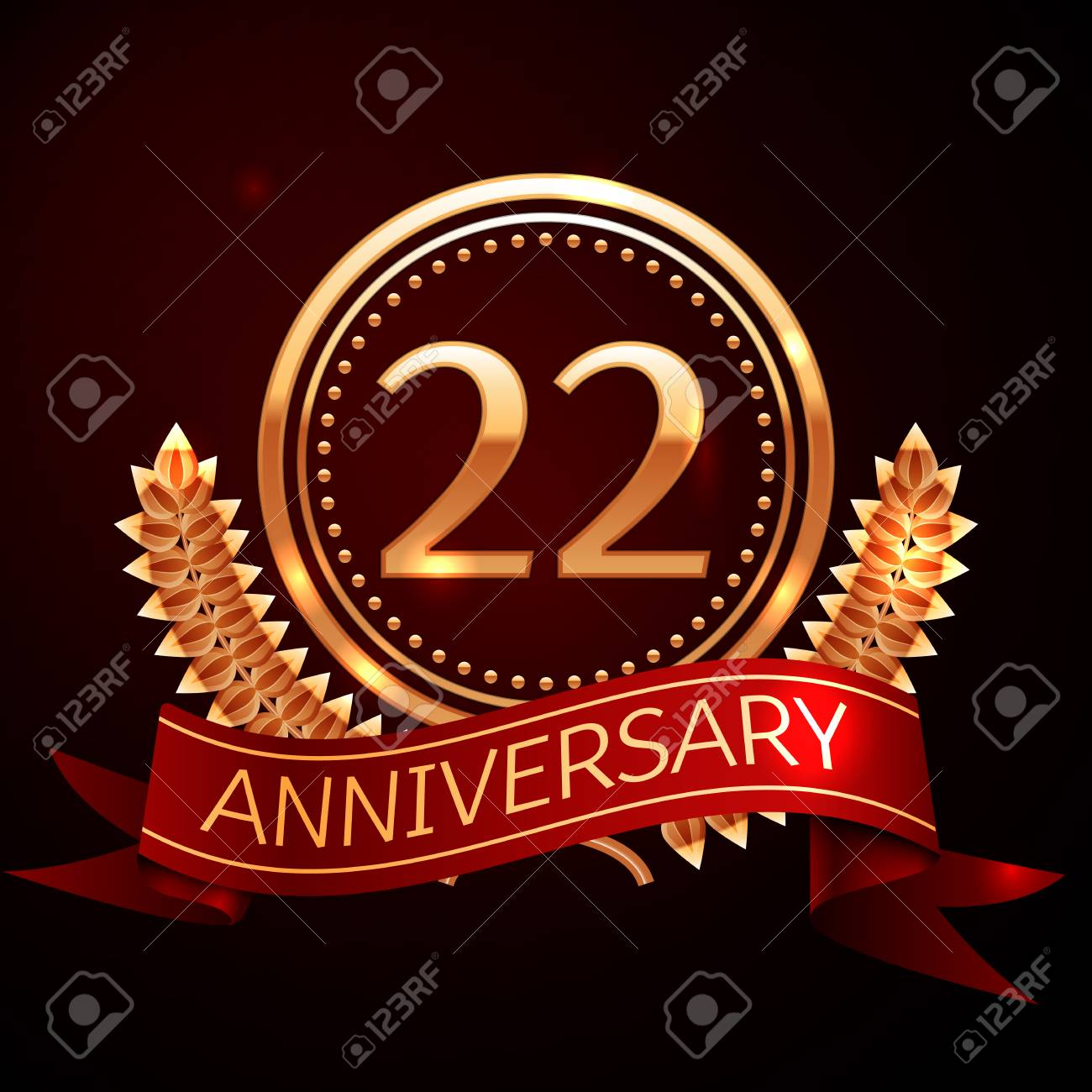 Twenty two years anniversary celebration with golden ring and ribbon. - 66529135