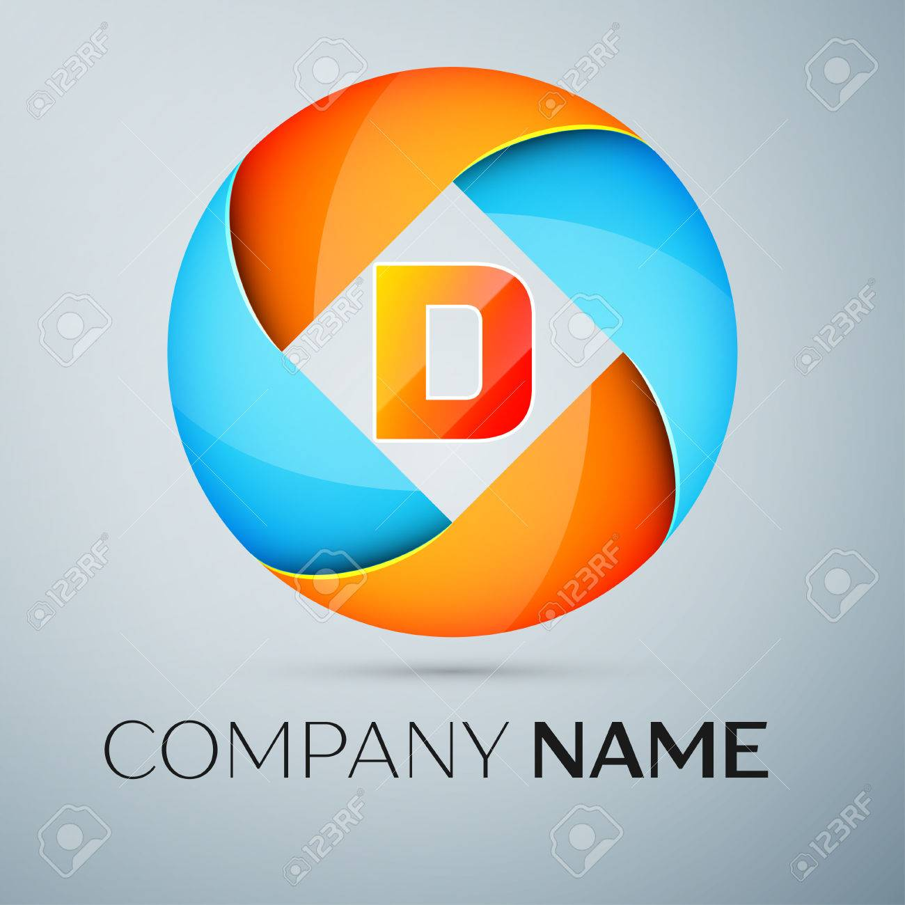 letter d vector logo symbol in the colorful circle vector template for your design stock