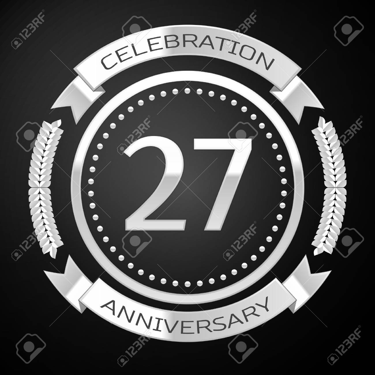 Twenty seven years anniversary celebration with silver ring and ribbon on black background. Vector illustration - 68889970
