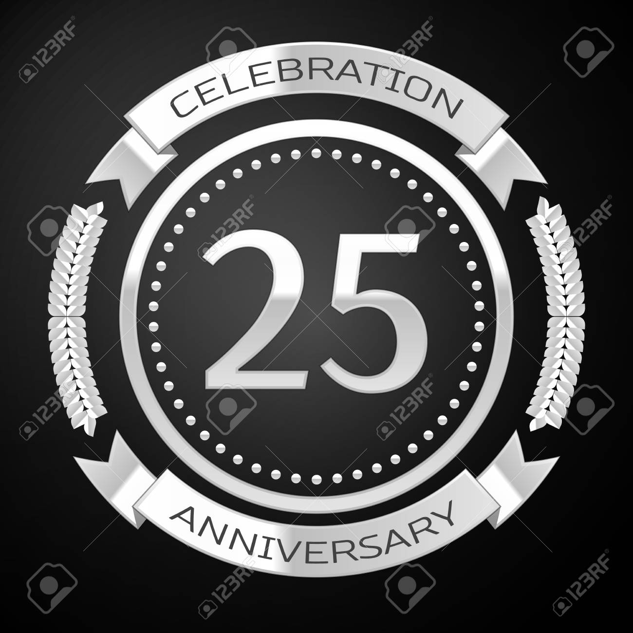 Twenty five years anniversary celebration with silver ring and ribbon on black background. Vector illustration - 67317854