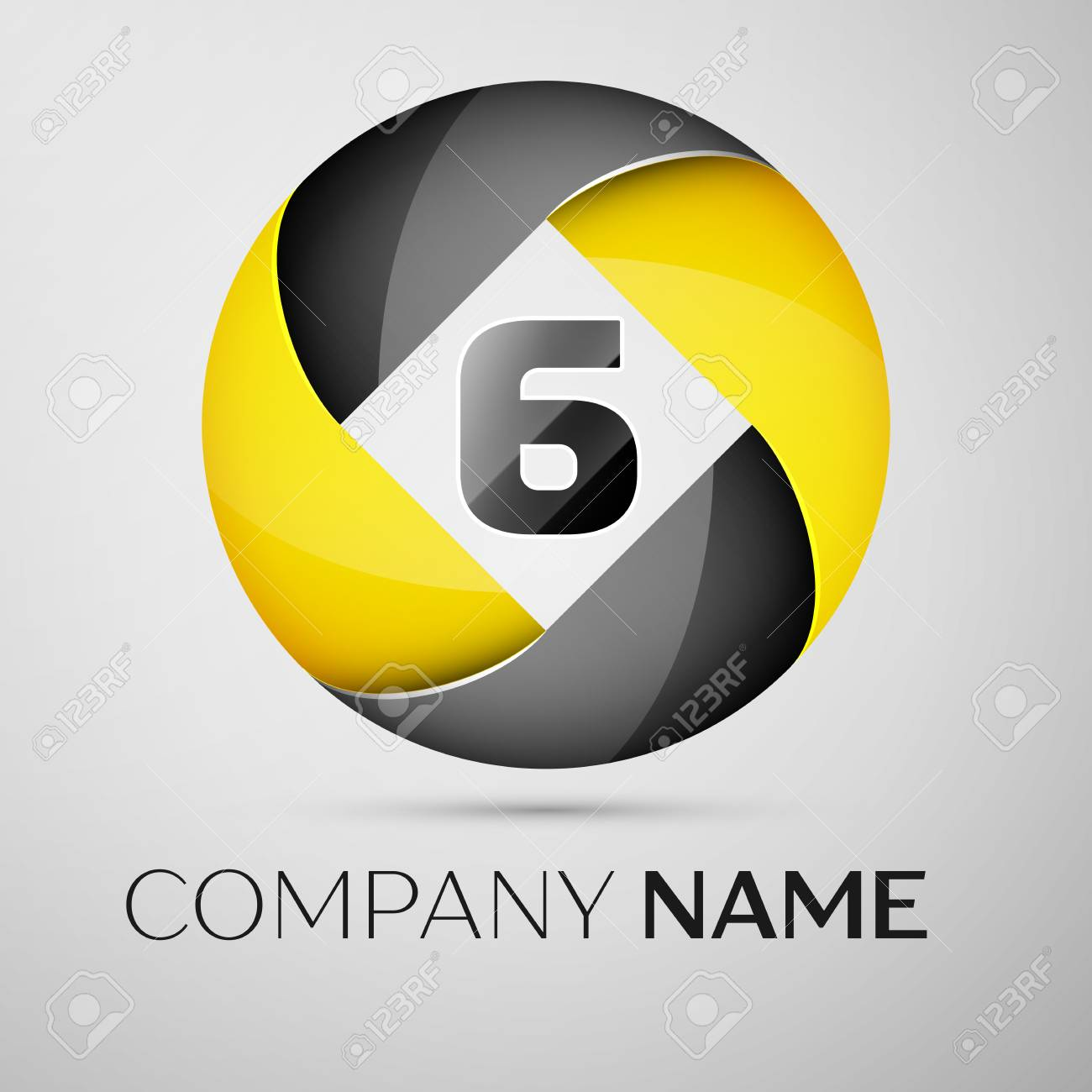 Number six vector logo symbol in the colorful circle  Vector