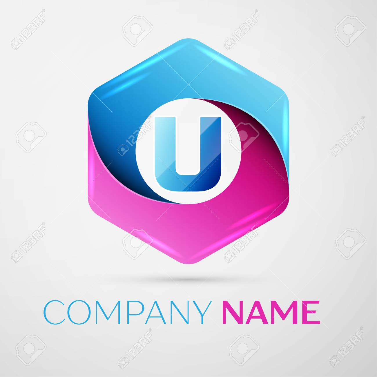 Letter U vector logo symbol in the colorful hexagonal on grey background. Vector template for your design - 67516205