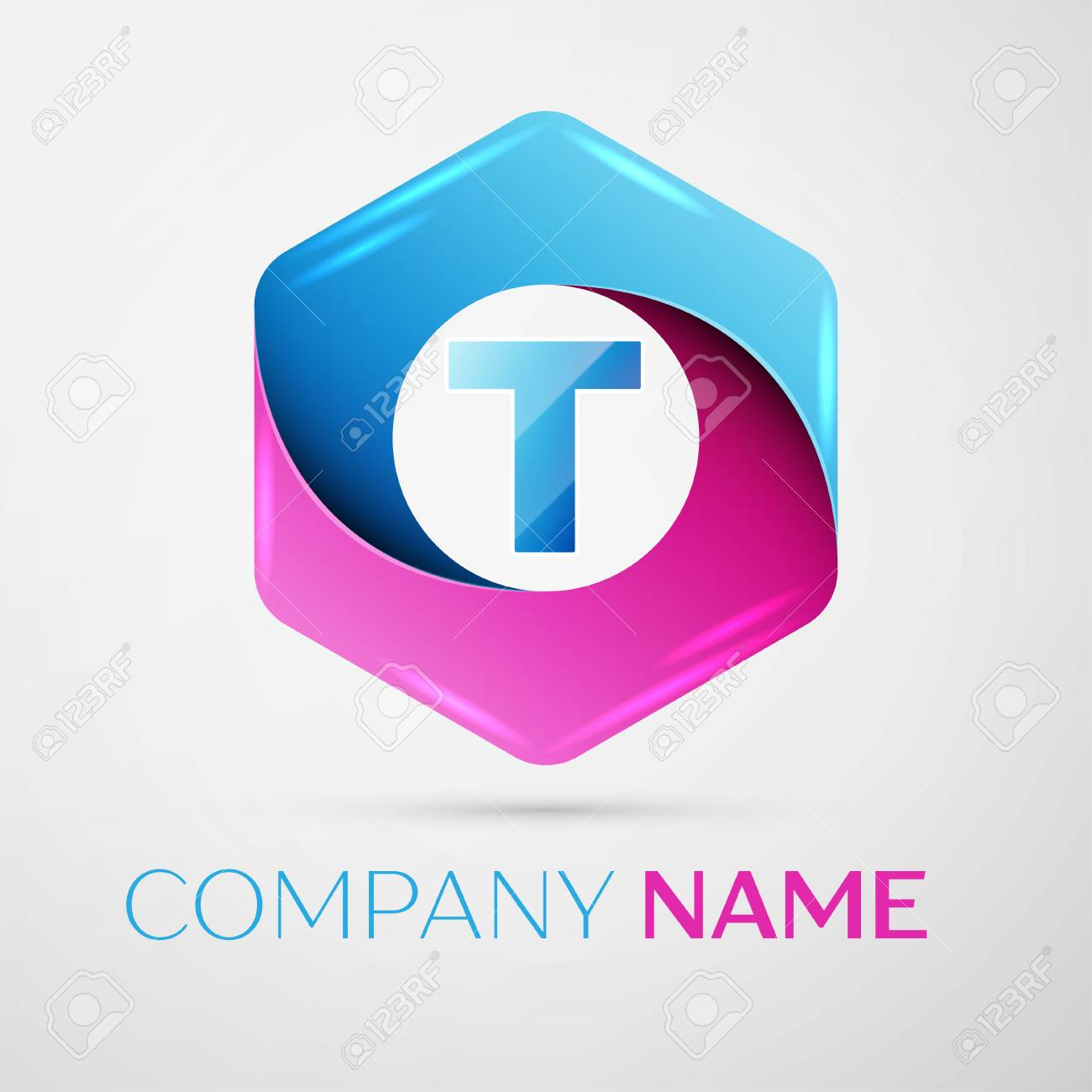 Letter T Vector Logo Symbol In The Colorful Hexagonal On Grey ...
