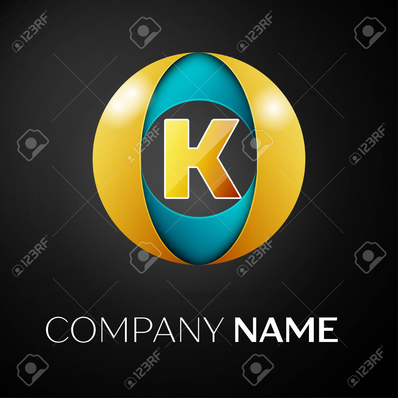 Letter K Symbol In The Colorful Circle On Black Background Template For Your Design Stock