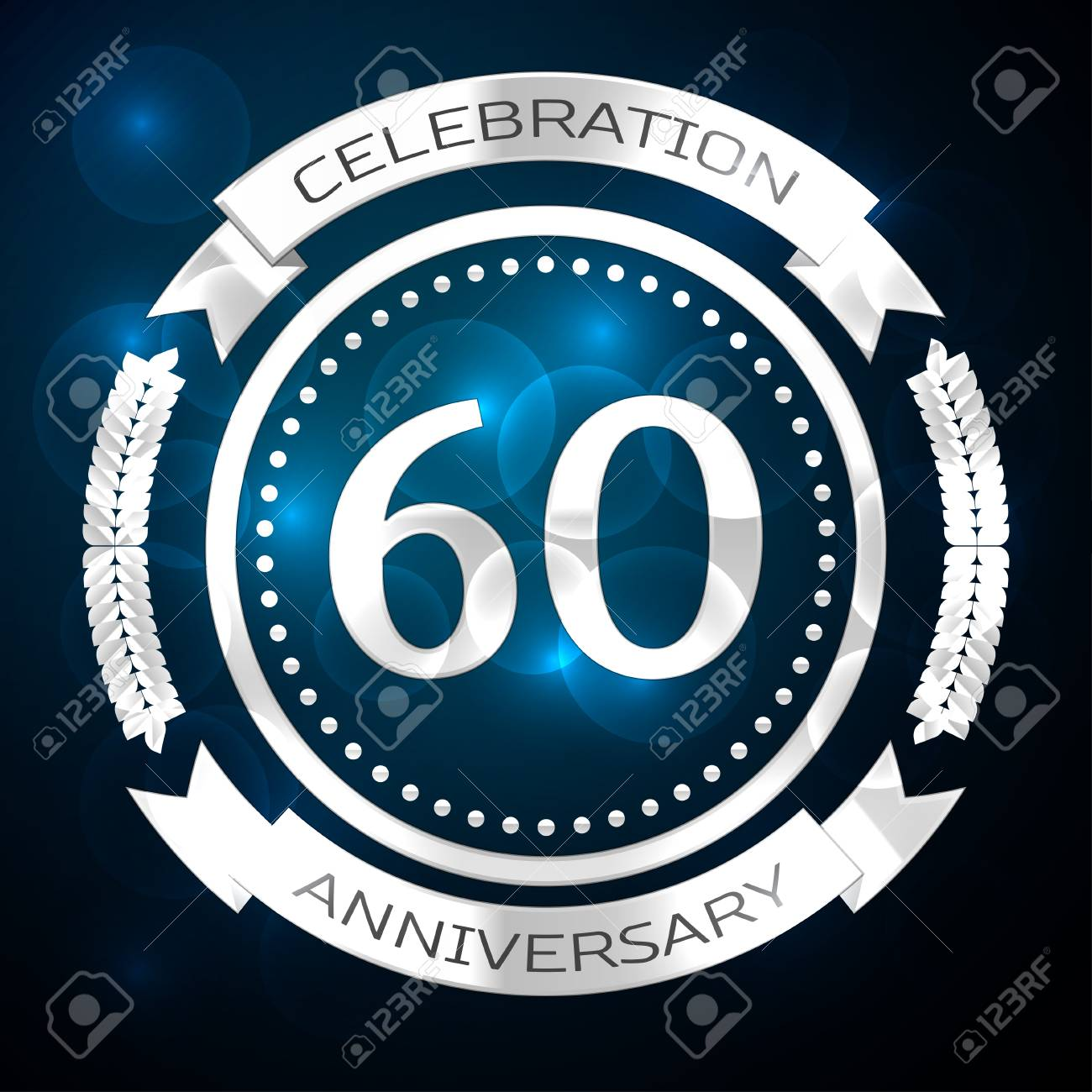 Sixty years anniversary celebration with silver ring and ribbon on blue background. Vector illustration - 71908221