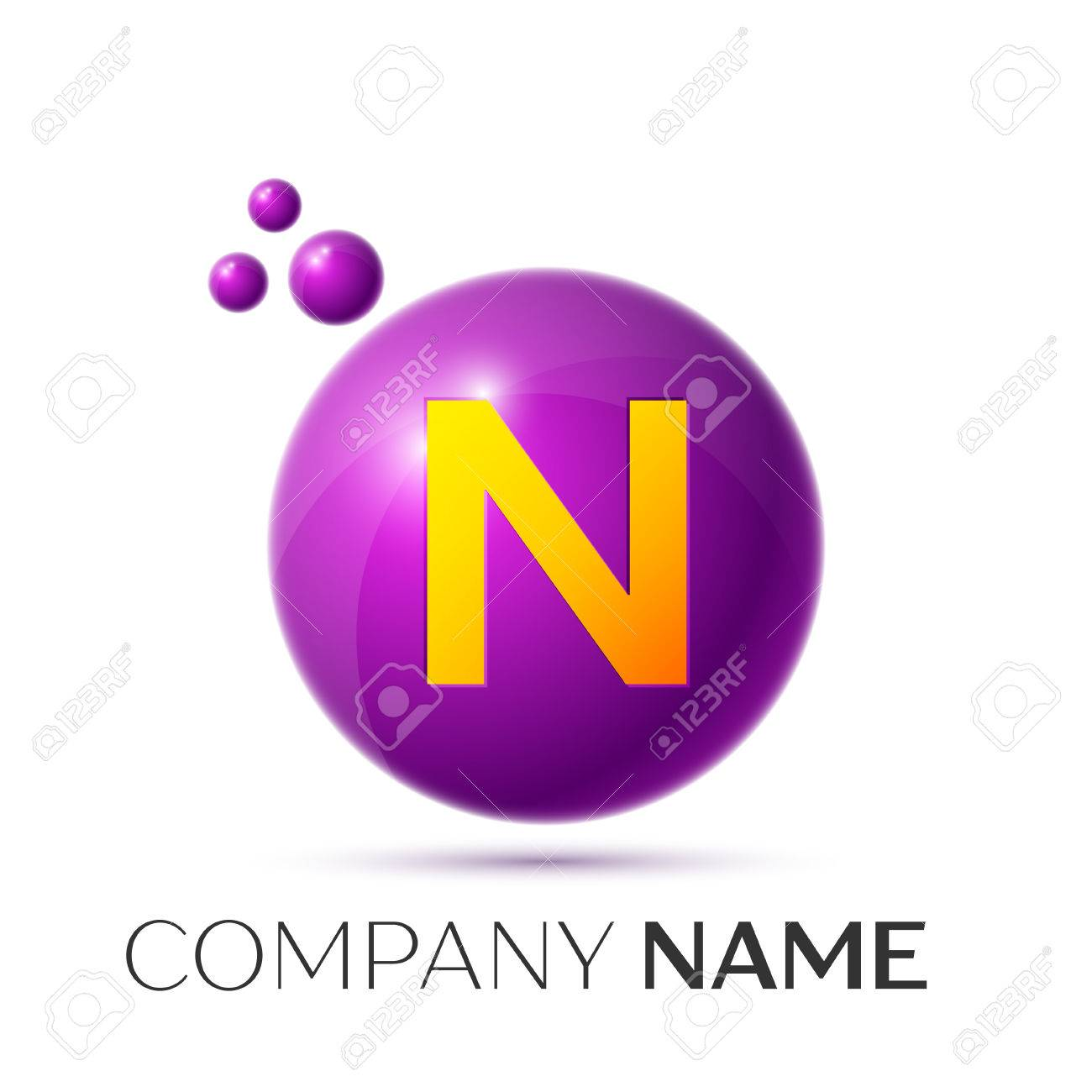 N Letter Splash Logo Purple Dots And Circle Bubble Design On Grey Background