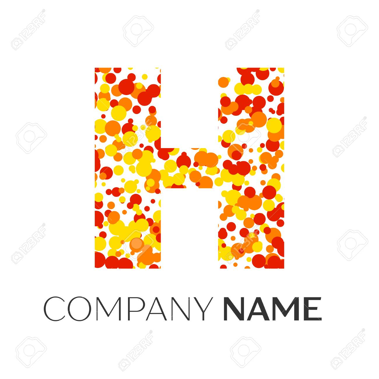 Letter H logo with orange, yellow, red particles and bubbles