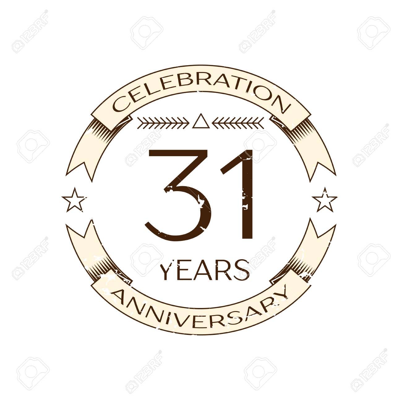 Realistic Thirty One Years Anniversary Celebration Logo With