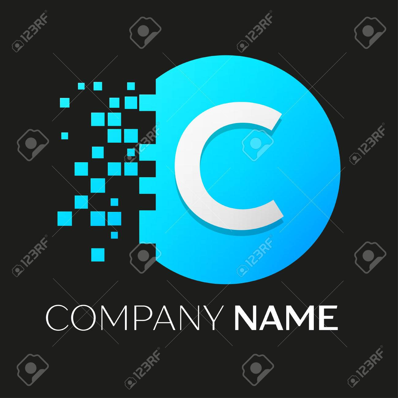 Realistic letter c vector logo symbol in the colorful circle realistic letter c vector logo symbol in the colorful circle with shattered blocks on black background biocorpaavc Images