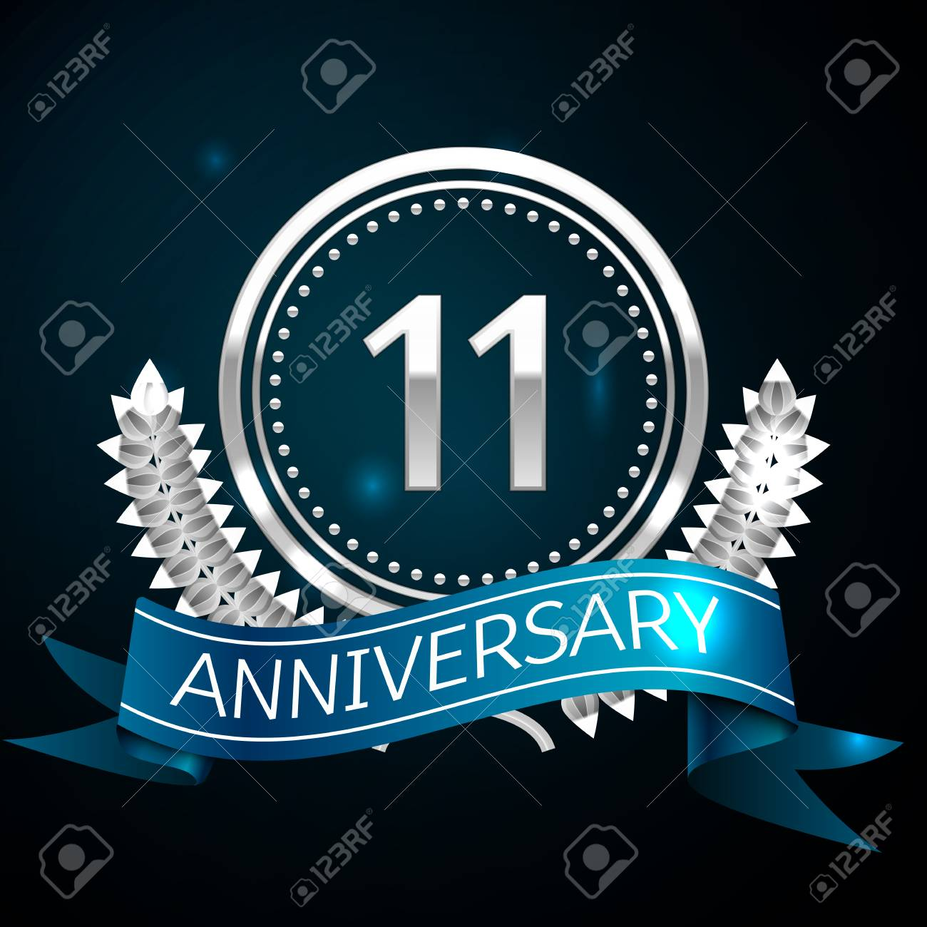 Realistic Eleven Years Anniversary Celebration Design with Silver Ring and Laurel Wreath, blue ribbon on blue background. Colorful Vector template elements for your birthday celebrating party - 103070685