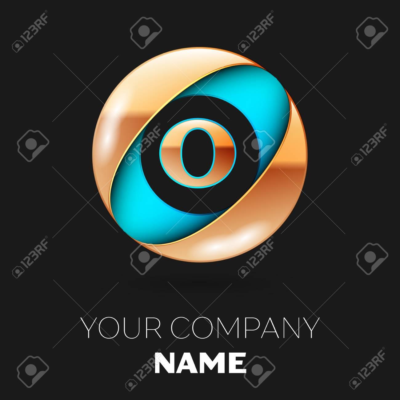 Realistic Golden Letter O Logo Symbol In The Blue Golden Colorful
