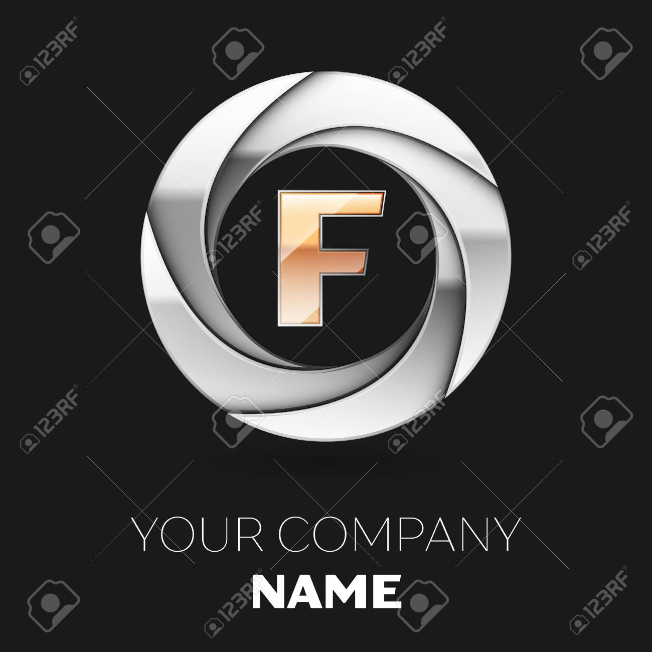98d2eb850320ed Vector template for your design. Realistic Golden Letter F logo symbol in  the silver colorful circle shape on black background.