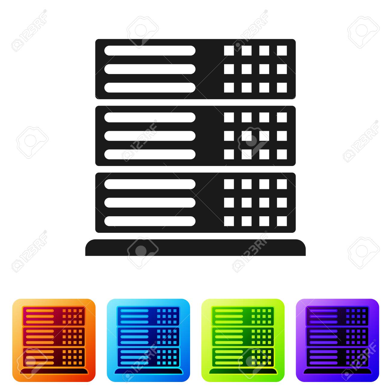 Black Server, Data, Web Hosting icon isolated on white background. Set icon in color square buttons. Vector Illustration - 124976372