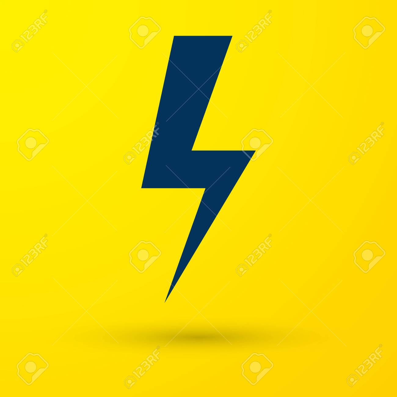 Blue Lightning Bolt Icon Isolated On Yellow Background Flash Royalty Free Cliparts Vectors And Stock Illustration Image 124297304