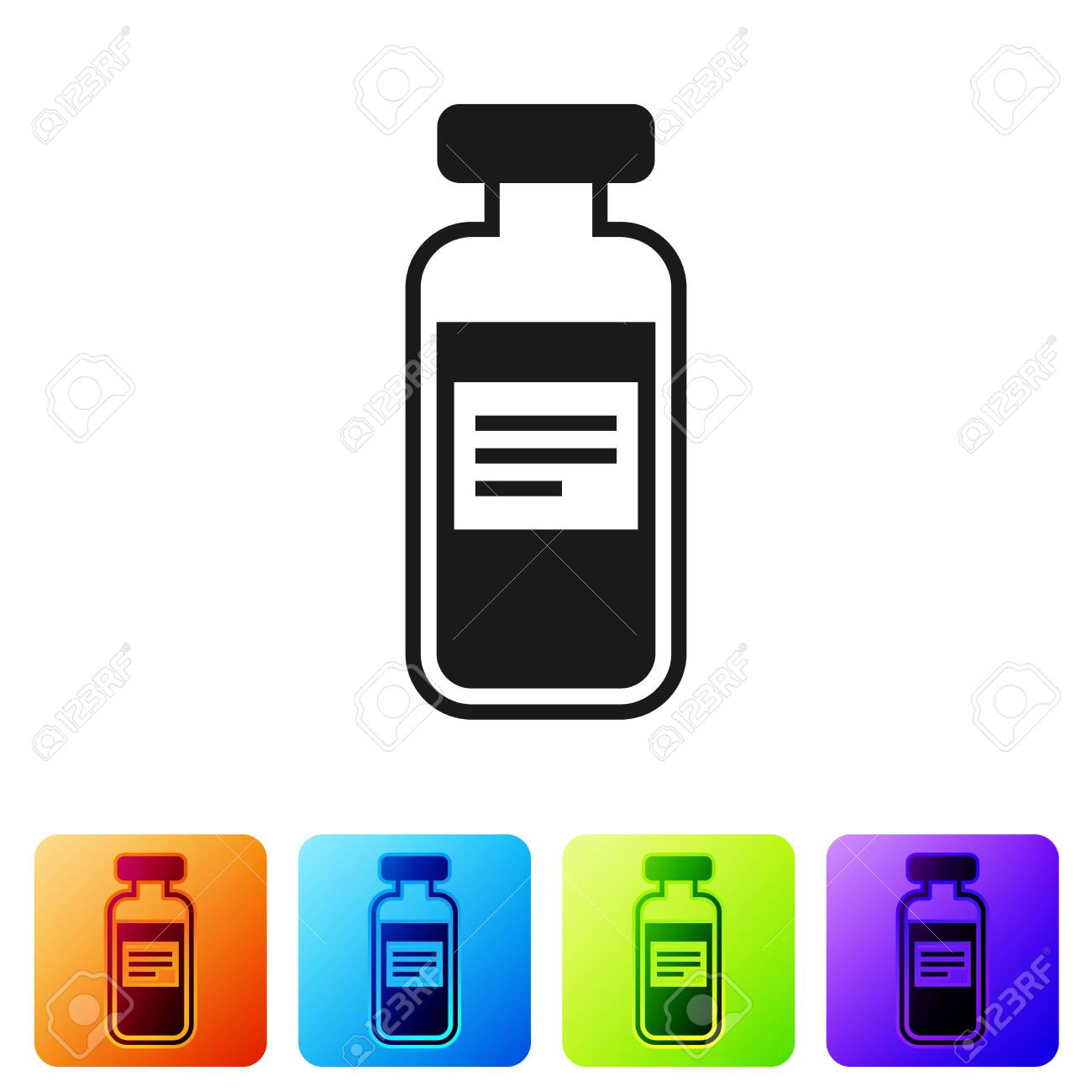 Black Medical vial, ampoule, bottle icon isolated on white background. Vaccination, injection, vaccine healthcare concept. Set icon in color square buttons. Vector Illustration - 124104201