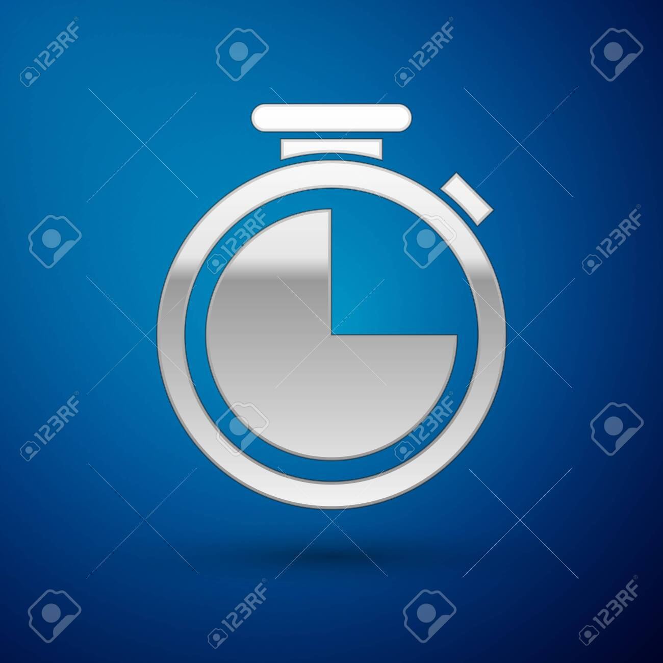 Silver Stopwatch icon isolated on blue background. Time timer sign. Vector Illustration - 124071259