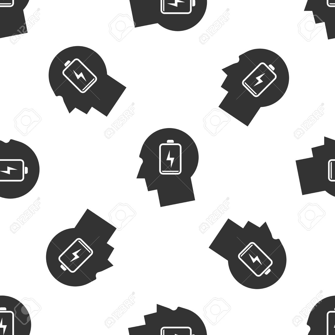 Grey Male head with low battery icon isolated seamless pattern on white background. Tired man. Vector Illustration - 120235531
