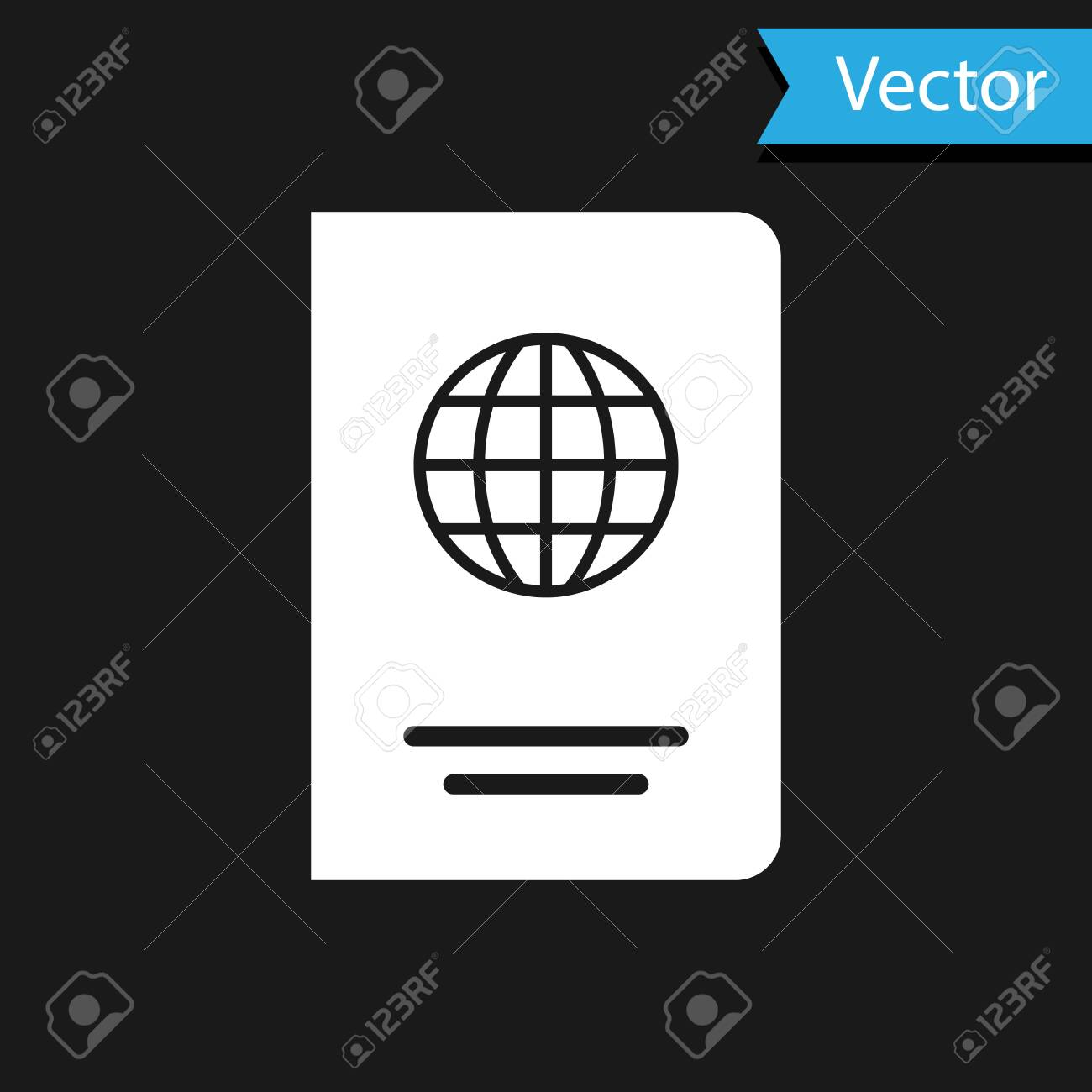 White Passport with biometric data icon isolated on black background