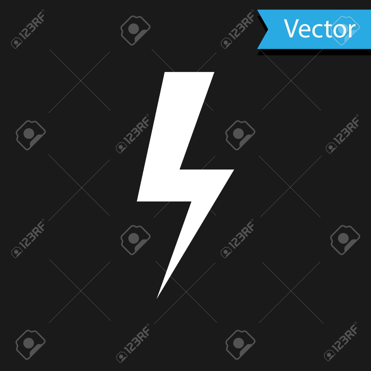 White Lightning Bolt Icon Isolated On Black Background Flash Royalty Free Cliparts Vectors And Stock Illustration Image 120833630