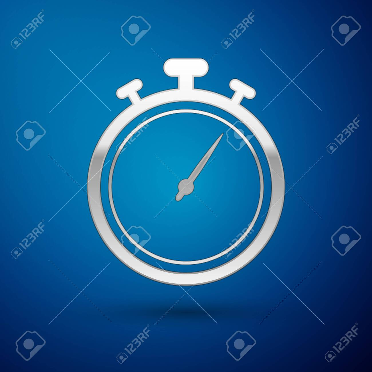 Silver Stopwatch icon isolated on blue background  Time timer