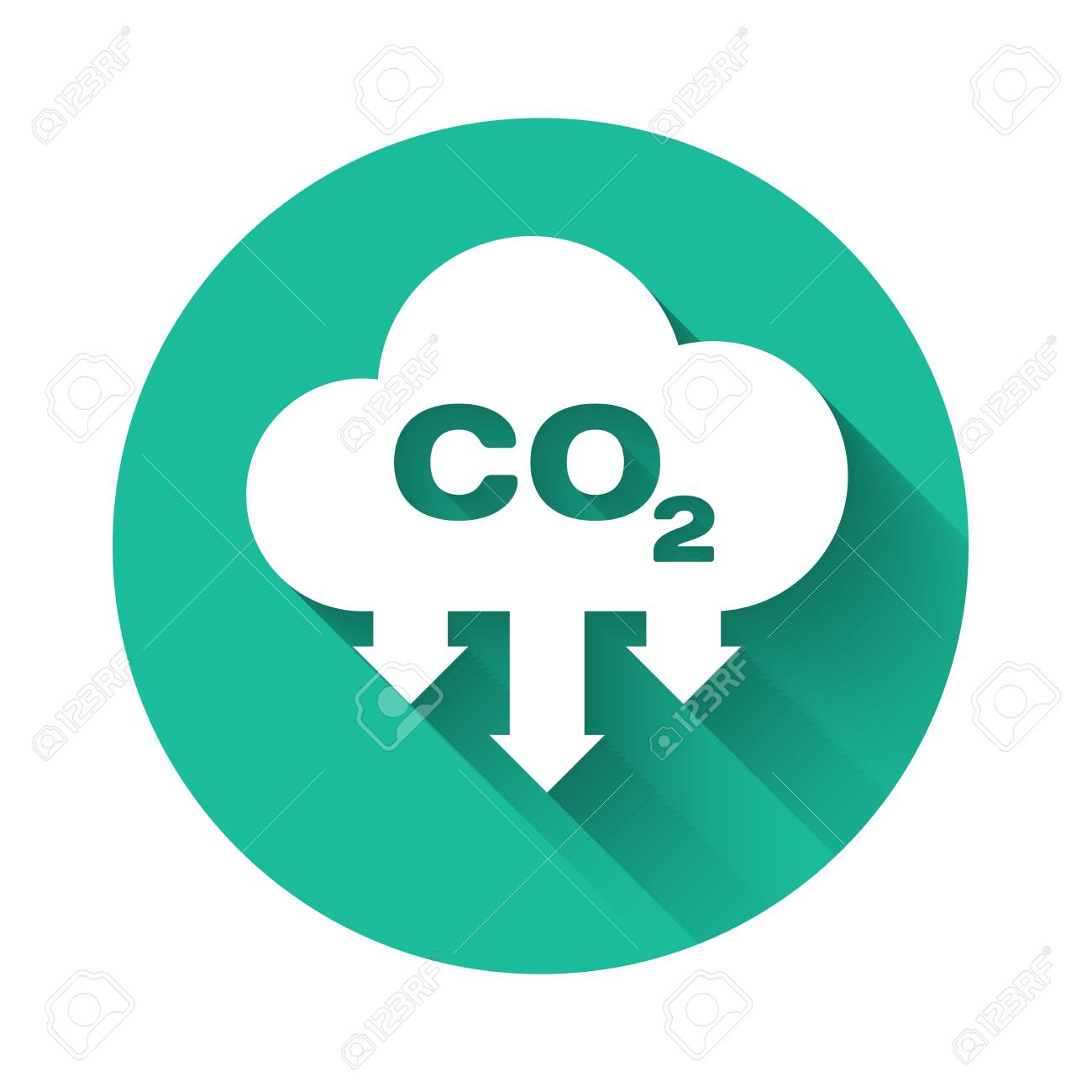 White CO2 emissions in cloud icon isolated with long shadow. Carbon dioxide formula symbol, smog pollution concept, environment concept. Green circle button. Vector Illustration - 122946017