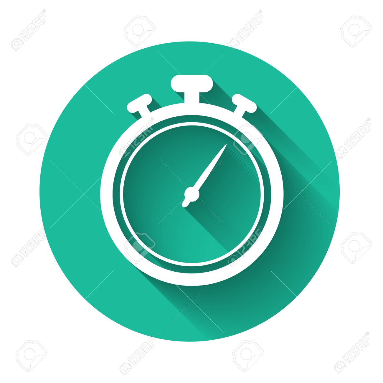 White Stopwatch icon isolated with long shadow  Time timer sign