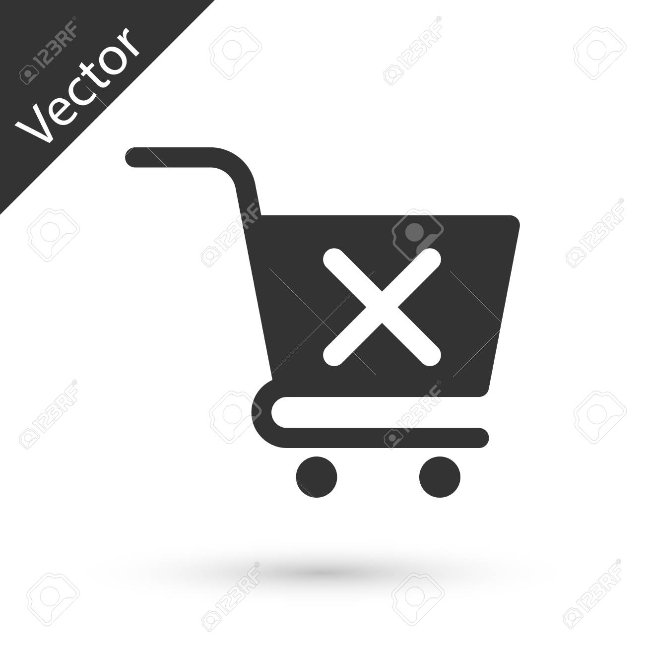 Grey Remove shopping cart icon isolated on white background