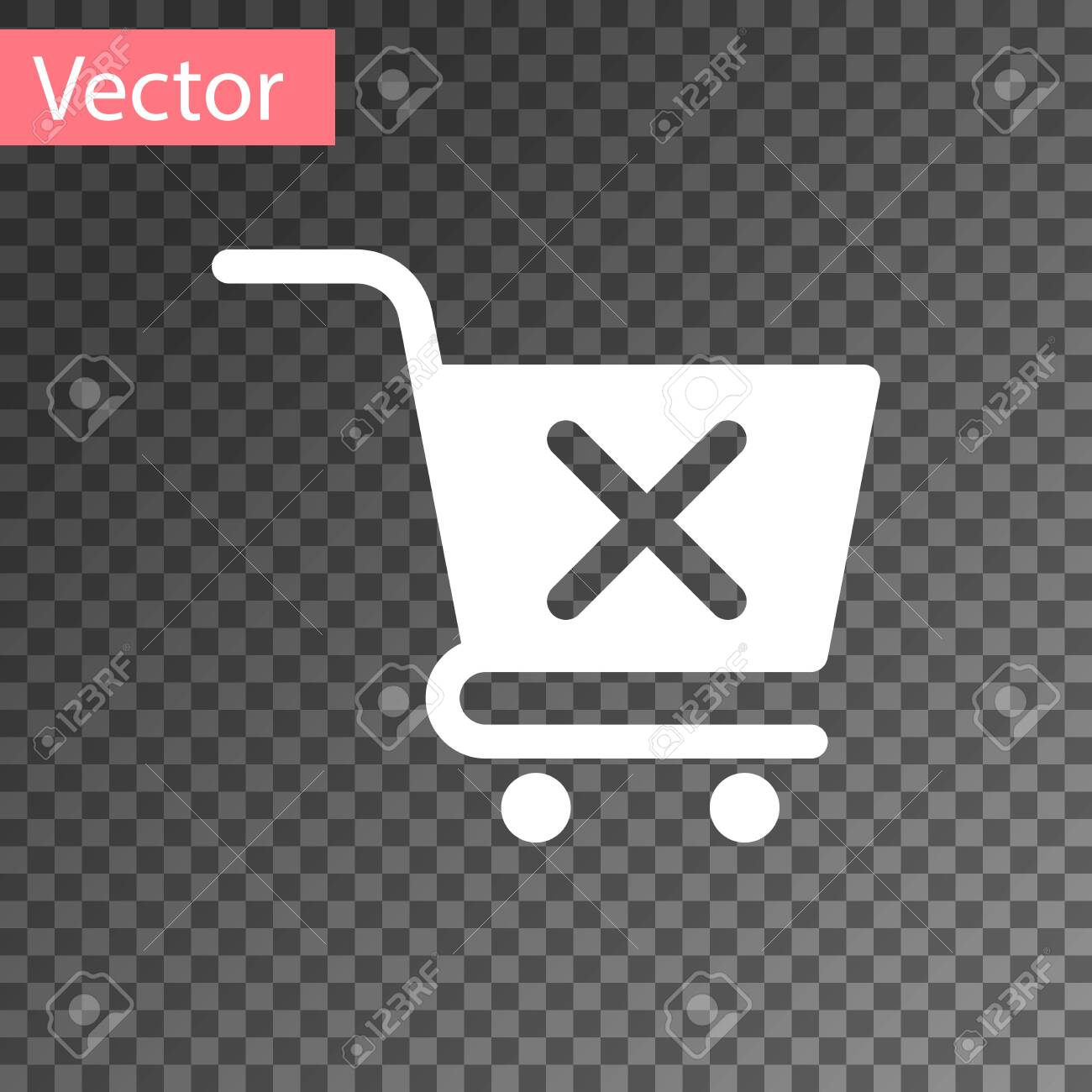 White Remove shopping cart icon isolated on transparent background