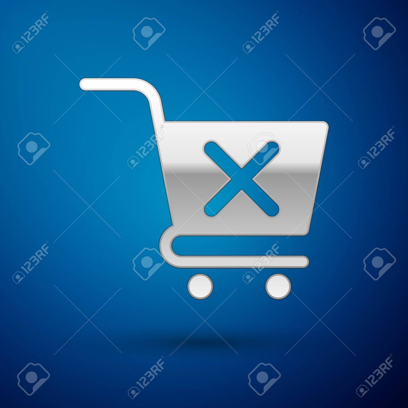 Silver Remove shopping cart icon isolated on blue background