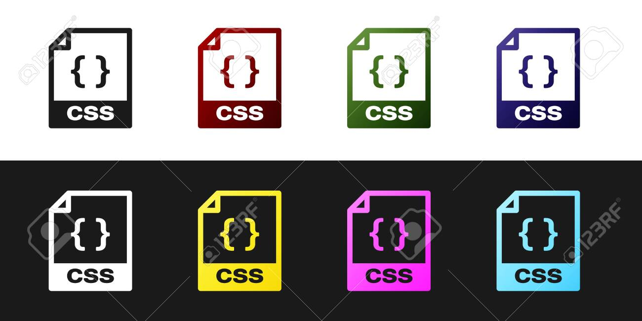 Set CSS file document icon  Download css button icon isolated