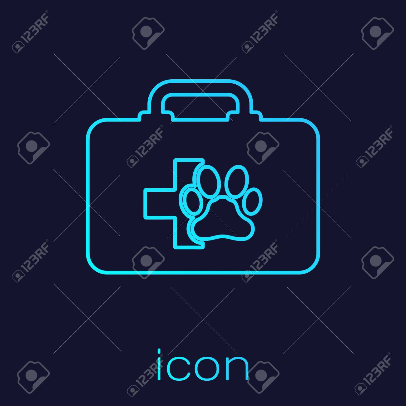 Turquoise Pet first aid kit line icon isolated on blue background