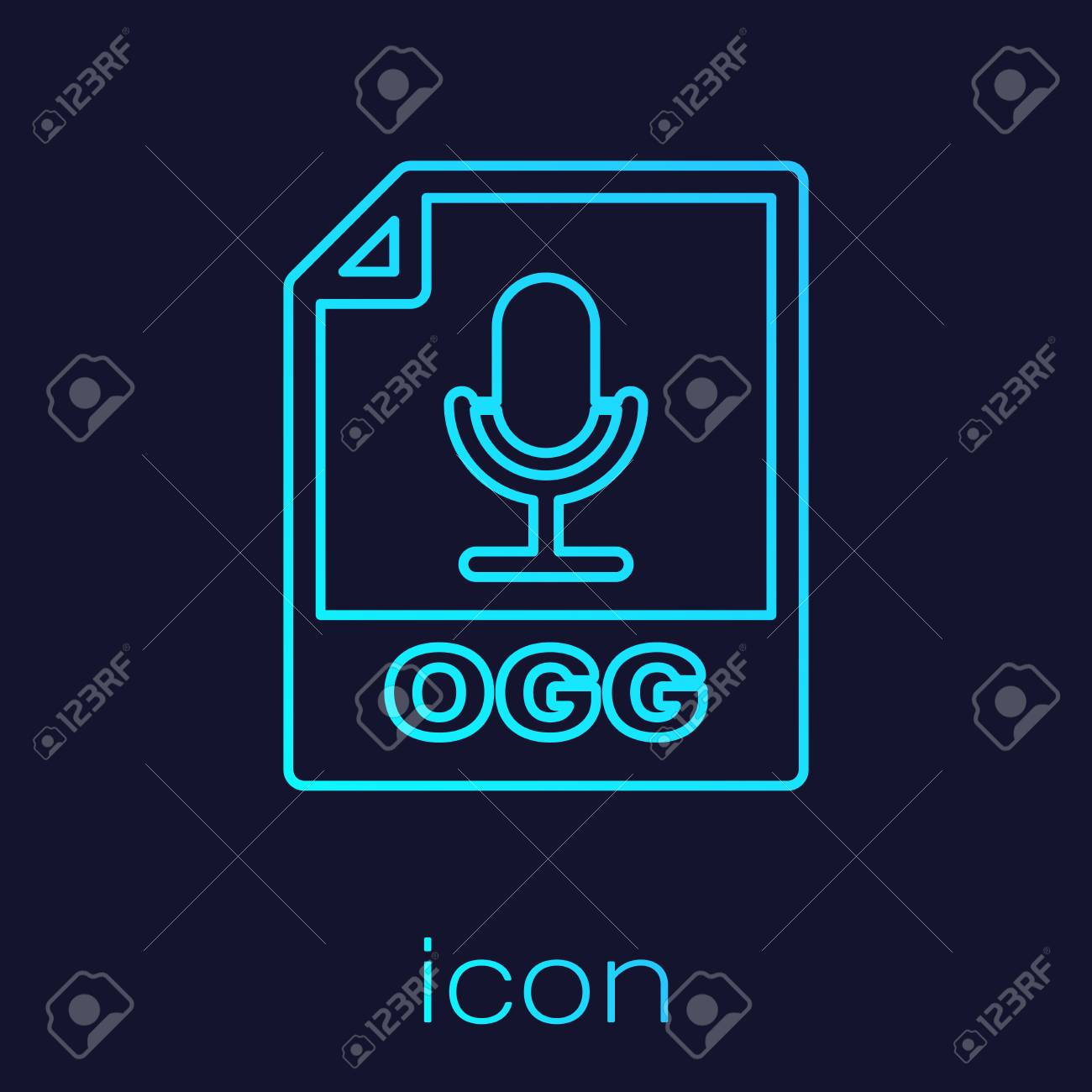 Turquoise OGG file document icon  Download ogg button line icon