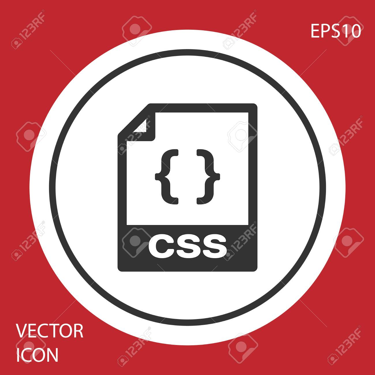 Grey CSS file document icon  Download css button icon isolated