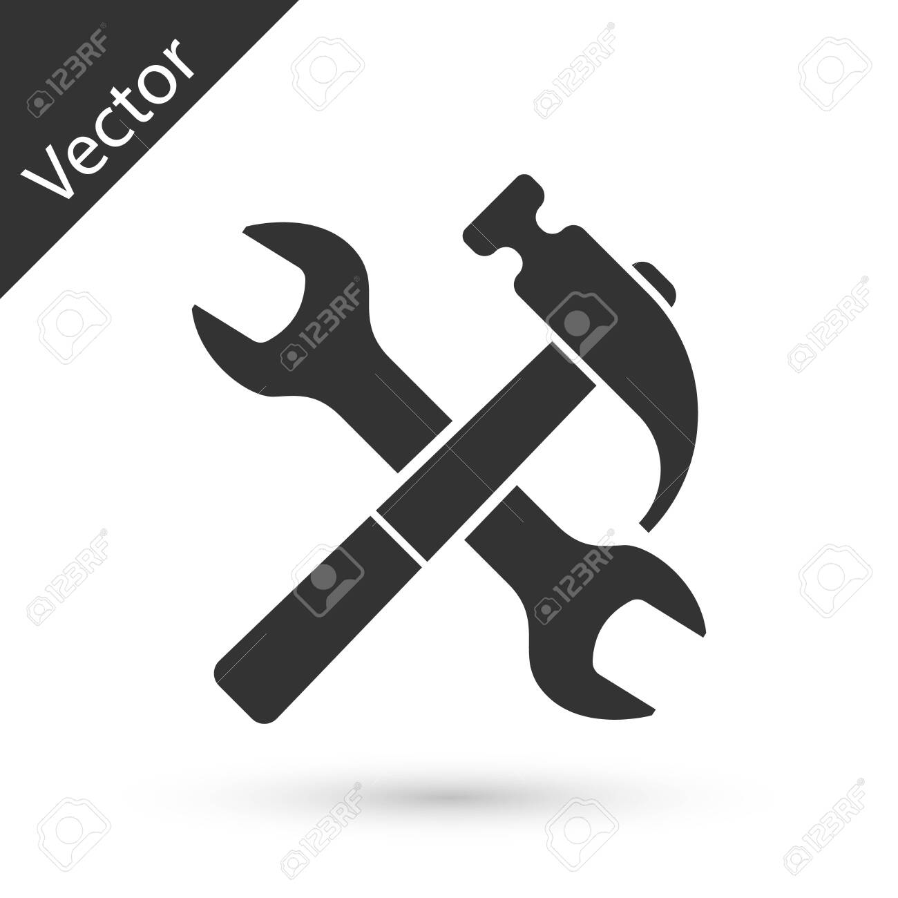 Grey Crossed hammer and wrench icon isolated on white background. Hardware tools. Vector Illustration - 124372622