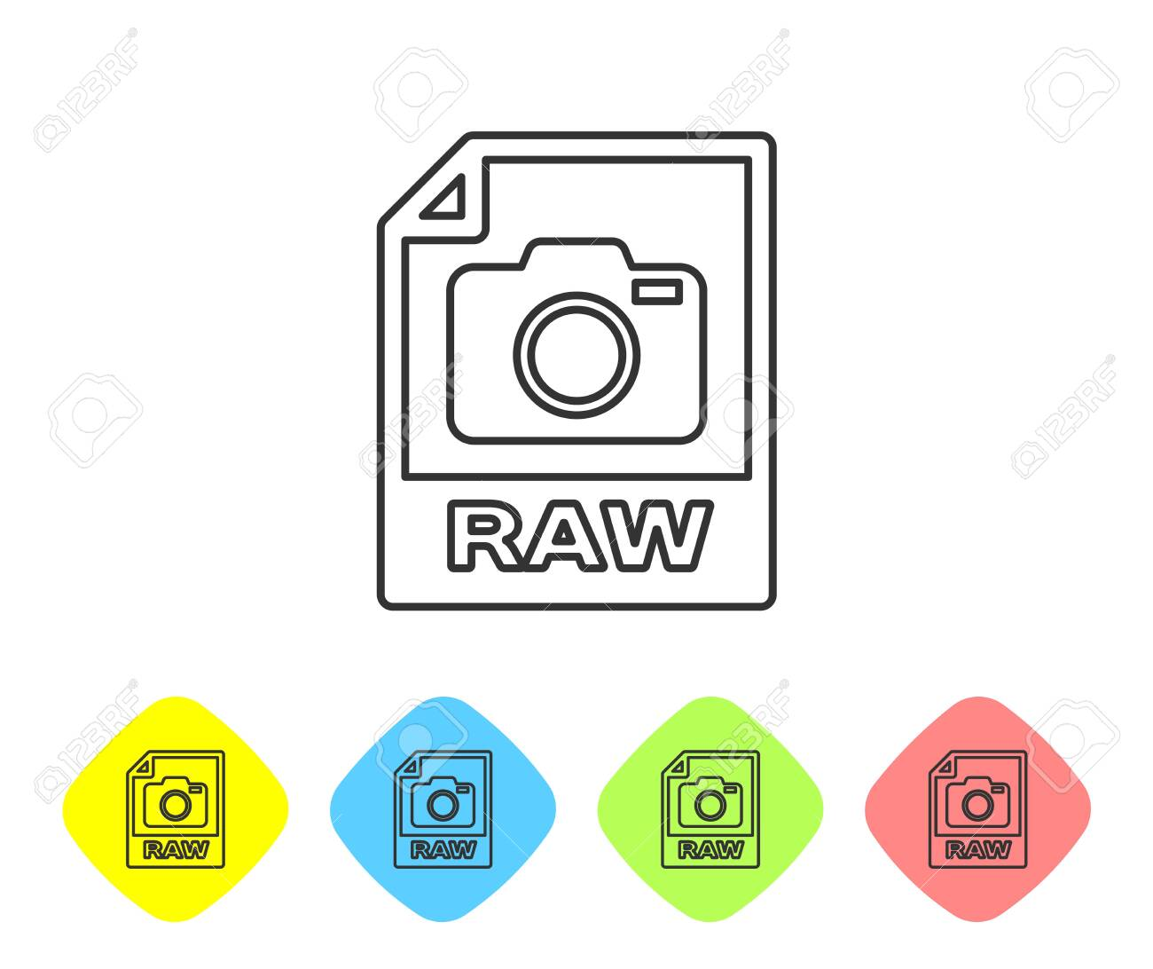 Grey RAW file document icon  Download raw button line icon isolated