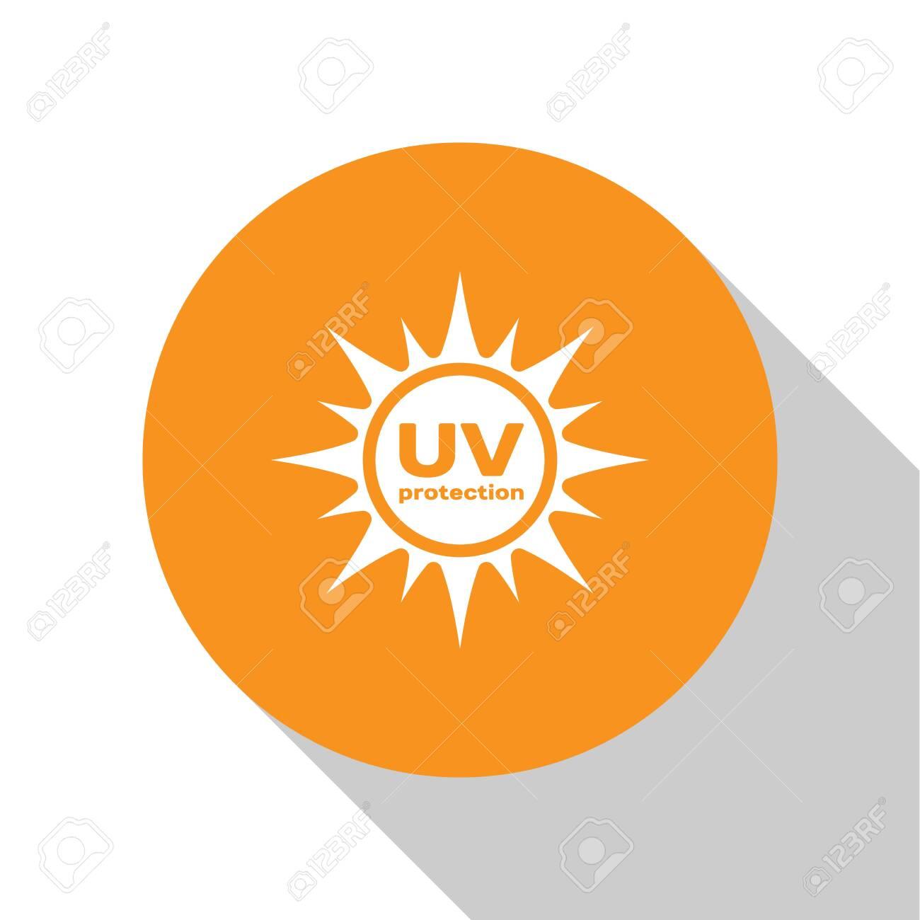 White UV protection icon isolated on white background. Ultra violet rays radiation. SPF sun sign. Orange circle button. Flat design. Vector Illustration - 124846101