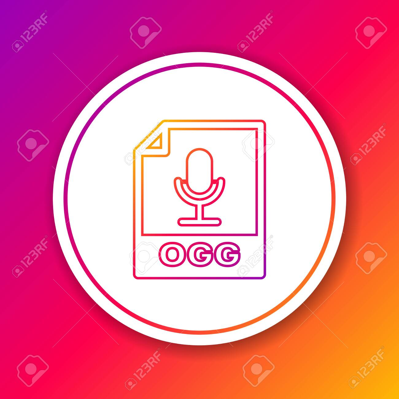 Color OGG file document icon  Download ogg button line icon isolated