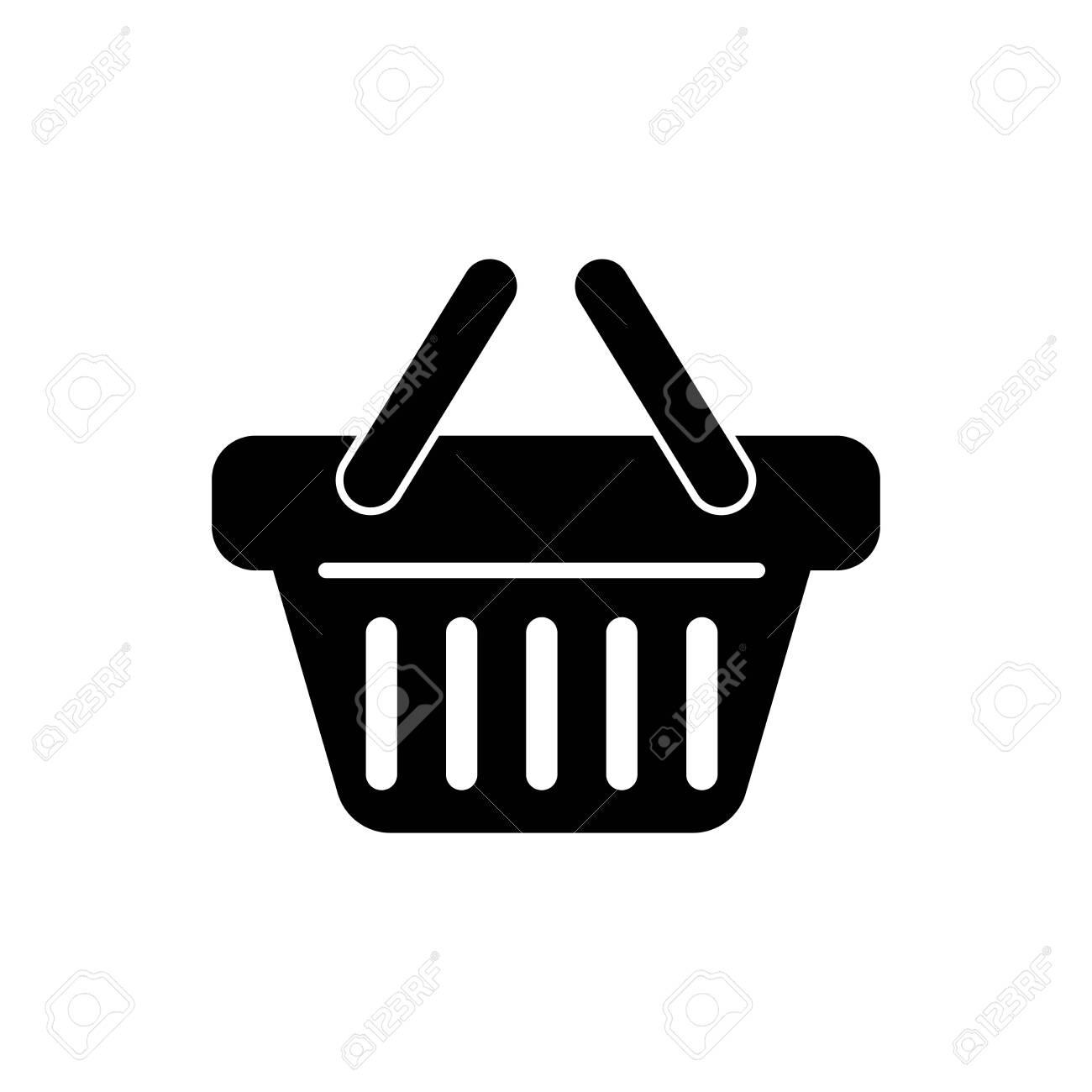 Black Shopping basket icon isolated on white background. Vector Illustration - 125317954