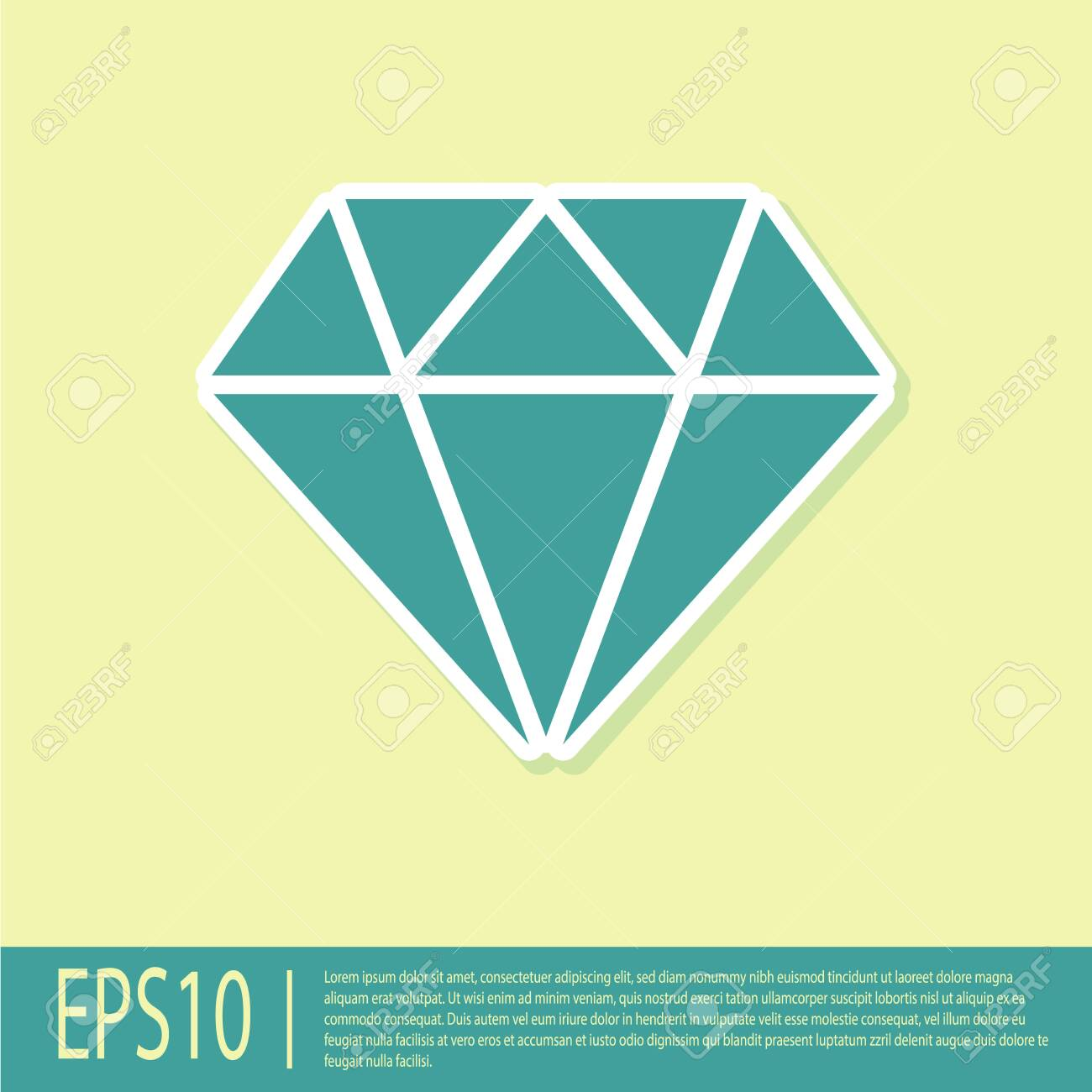Green Diamond sign isolated on yellow background. Jewelry symbol. Gem stone. Flat design. Vector Illustration - 125882947