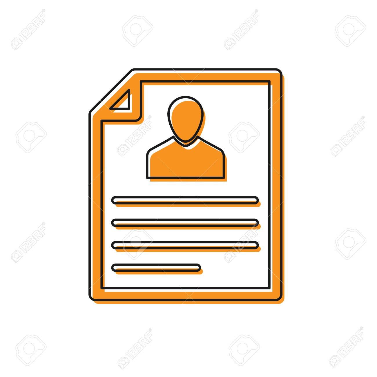 Orange Resume icon isolated on white background. CV application. Searching professional staff. Analyzing personnel resume. Vector Illustration - 126160061