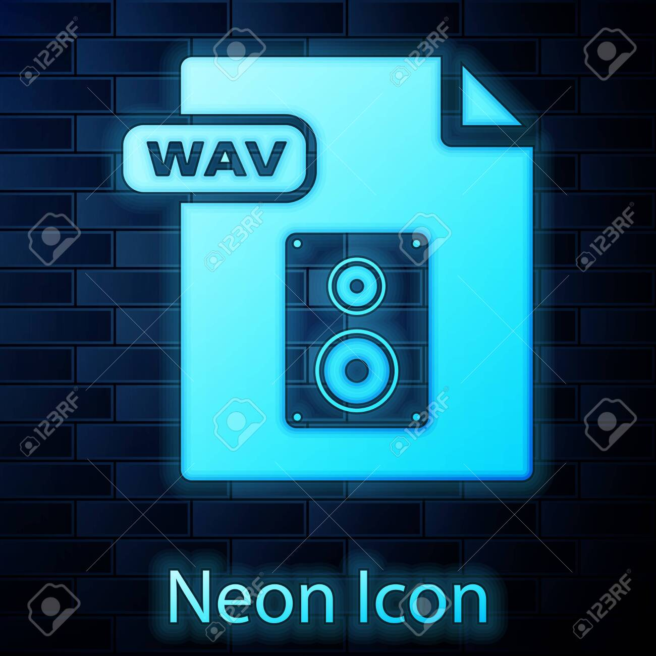 Glowing neon WAV file document  Download wav button icon isolated
