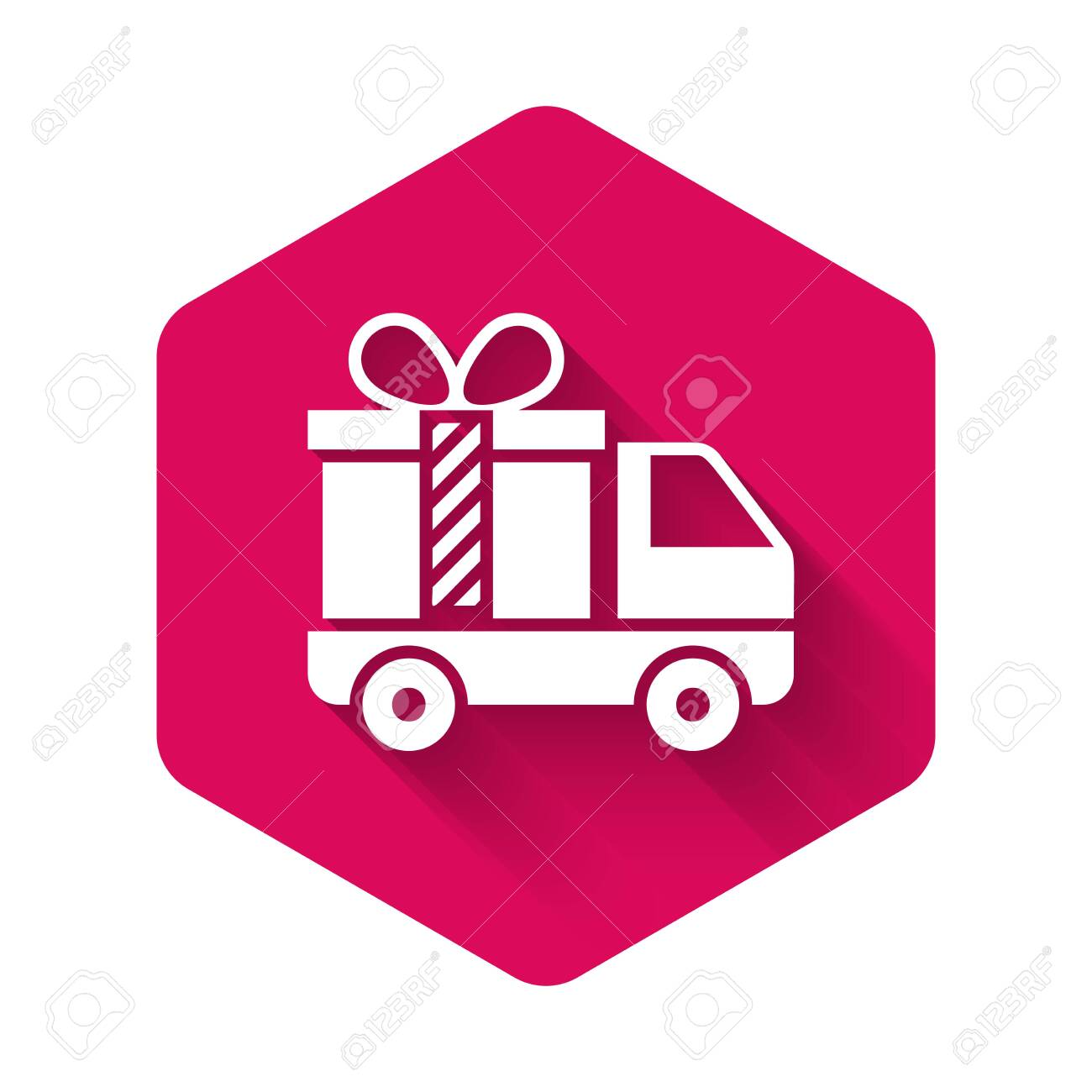 White Delivery truck with gift icon isolated with long shadow. Pink hexagon button. Vector Illustration - 127774488