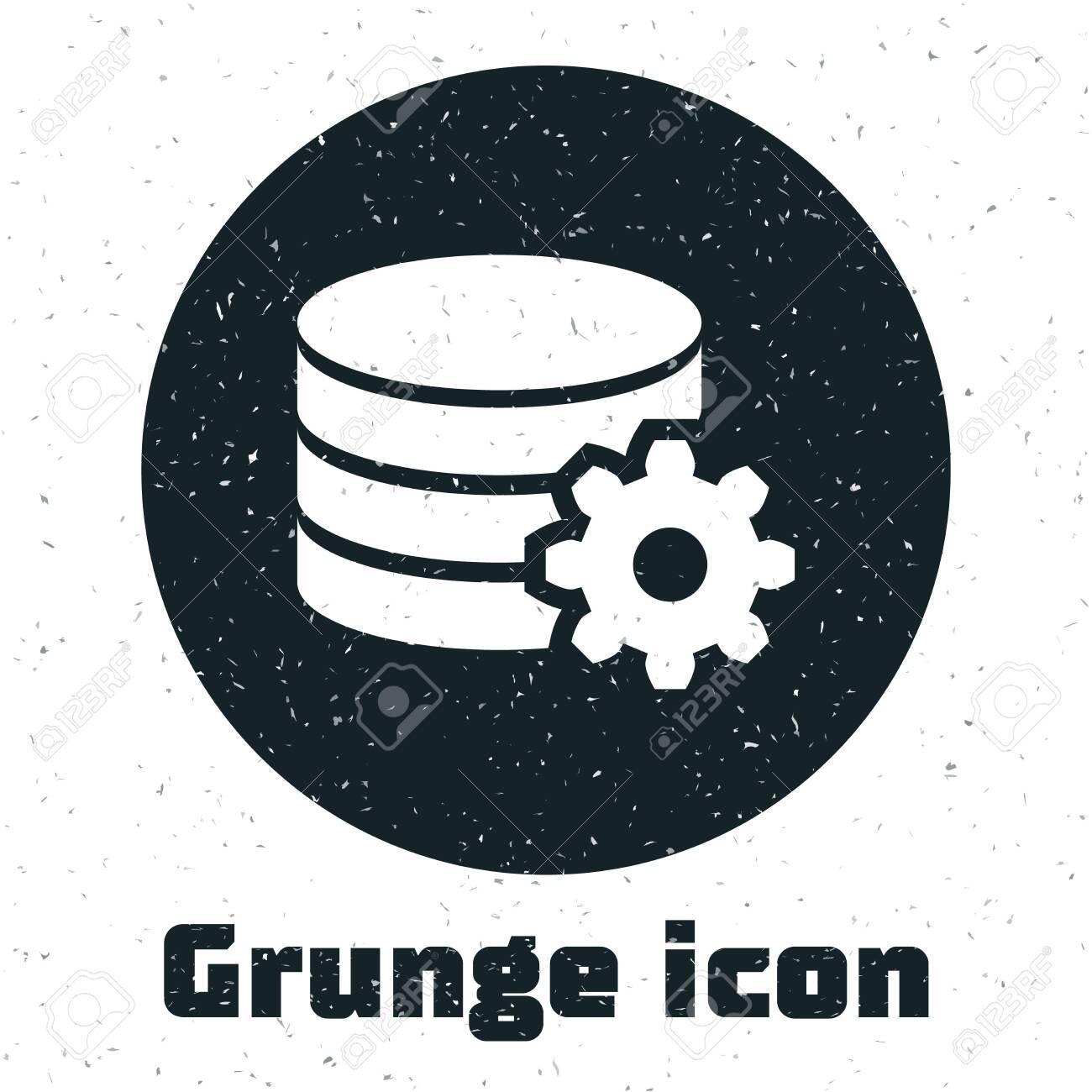 Grunge Setting database server icon isolated on white background