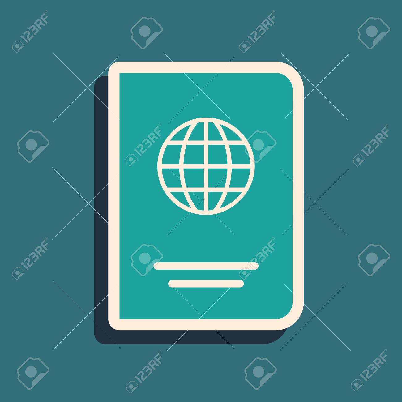 Green Passport with biometric data icon isolated on blue background